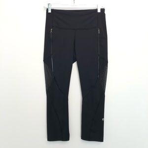 Lululemon Capris Leggings Black Zipper Pocket Mesh
